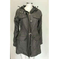Michael Kors Green Olive Cotton Hooded Zip-front Pocket Jacket Size Sp Small