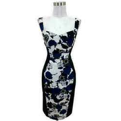 N934 Black Halo Dress Size 0 Xs Blue White Floral Sheath Sleeveless Formal