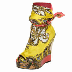 Dolce & Gabbana Multicolor Scarf Open Toe Ankle Wrap Wedge Pumps Size 36.5