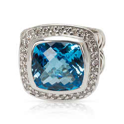 David Yurman Blue Topaz & Diamond Albion Ring in Sterling Silver