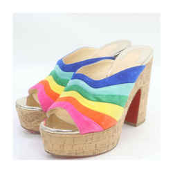 Christian Louboutin Rainbow Suede O Sister Platform Mules Sandals 863231
