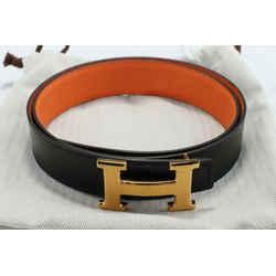 Hermes Orange and Black Leather Constance Reversible Belt