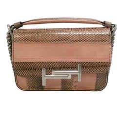 Tod's Flap Cross Body Pink Snakeskin Leather Shoulder Bag