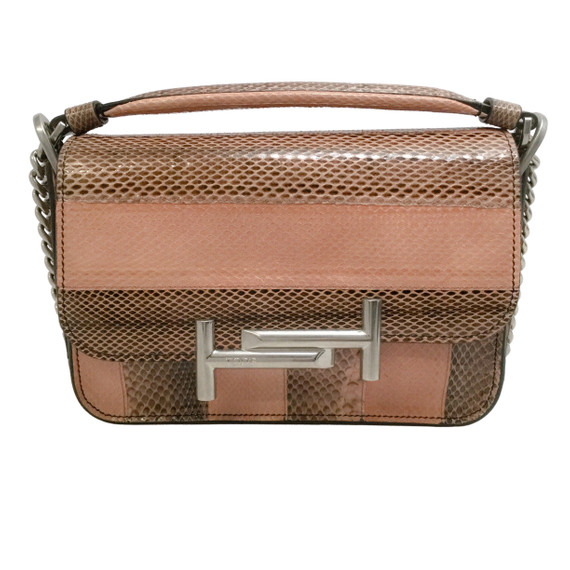 Tod's Flap Cross Body Pink Snakeskin Leather Shoulder Bag