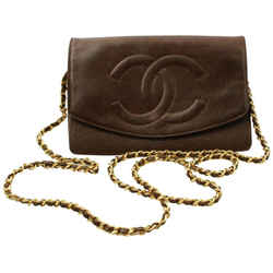 Chanel Brown Caviar Leather Wallet on Chain Flap Bag  Gold 861341