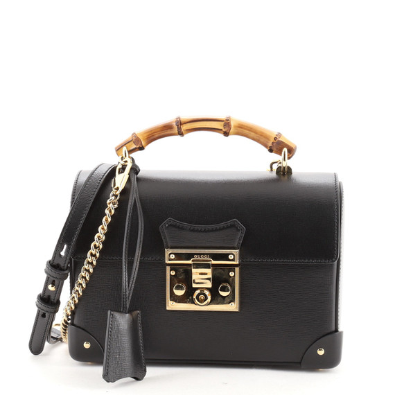 Padlock Bamboo Shoulder Bag Leather Small