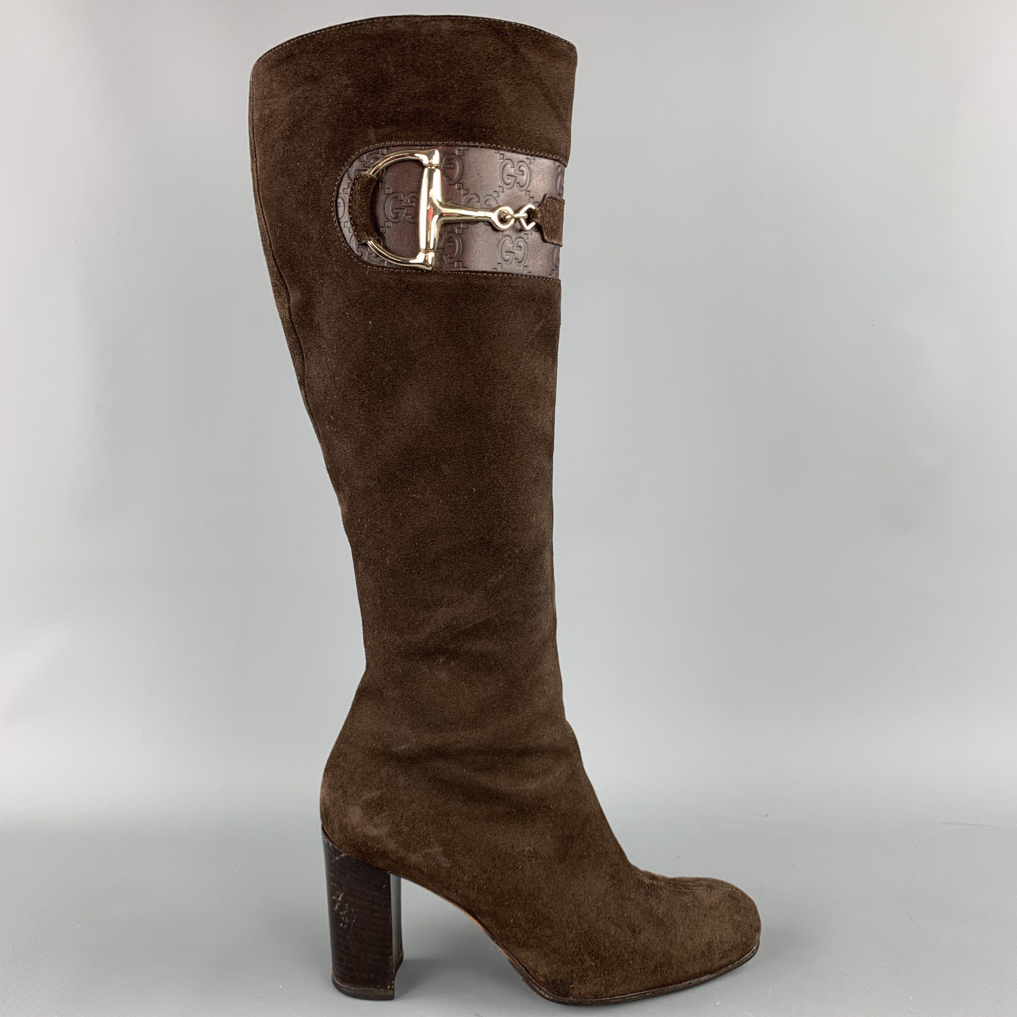 GUCCI Size 6.5 Brown Suede Knee High