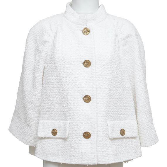 CHANEL Tweed Jacket Blazer White Stand Up Collar Paris-Greece 2018 Sz 48