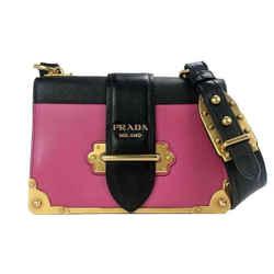 Prada Pink Leather Medium Cahier Shoulder Bag
