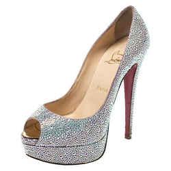 Christian Louboutin Silver Crystal Embellished Lady Peep Toe Platform Pumps