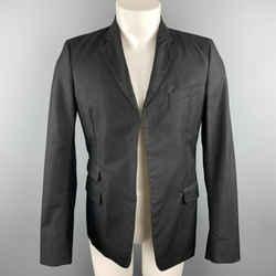 Dsquared2 Chest Size 38 Black Studded Cotton / Polyamide Notch Lapel Sport Coat