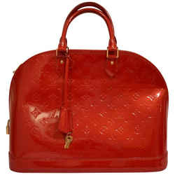 Louis Vuitton Alma Monogram Patent Red Shoulder Bag