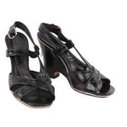 Marc by Marc Jacobs Black Leather Wedge Sandals Shoes 39.5