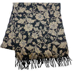 Loro Piana Black and Brown Print Cashmere Scarf