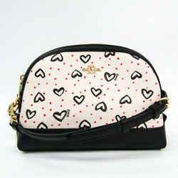 Coach Crayon Heart Print 91152 Women's Leather,PVC Shoulder Bag Black,O BF522141