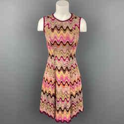 MISSONI Size 2 Fuchsia Multi-Color Zig Zag Rayon / Wool Sleeveless Dress
