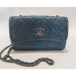 Chanel Small Blue Caviar Flap Bag Silver Cc Chain Crossbody Shoulder Bag 2014