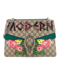 Dionysus Medium Suede and Embroidered Supreme Canvas Bag