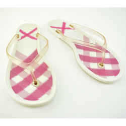 "BURBERRY: Pink ""House Check"" & Logo Sandals/Flip-Flops Sz: 8.5M"