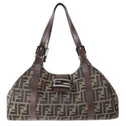 "Fendi Zucca Canvas Brown Shoulder Bag 10""L x 6""H x 1.5""W"