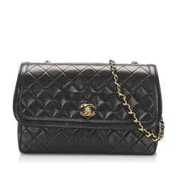 Vintage Authentic Chanel Black CC Lambskin Flap Bag France