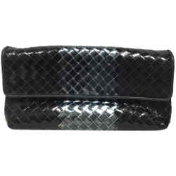"Bottega Veneta Lotus Intrecciato Flap Black Leather Clutch 5""L x 9.5""W x 3.5""H Item #: 25756329"