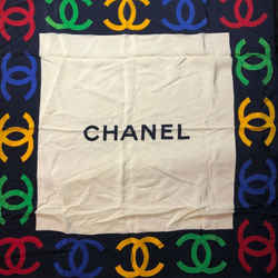 Vintage Authentic Chanel Cc Logo 100% Silk White & Navy Multicolor Scarf
