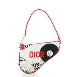 Christian Dior Vintage Saddle Bag Printed Canvas Mini