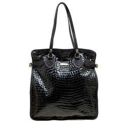 Dsquared2 Black Croc Embossed Patent Leather Tote