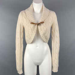 RALPH LAUREN Blue Label Size M Cream Knitted Cashmere / Wool Cardigan