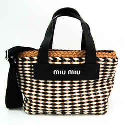 Miu Miu Woven Braided 5BA077 Women's Elastane,Leather Handbag,Shoulder  BF521359
