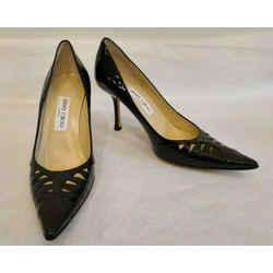 Jimmy Choo Black Patent Leather Stiletto Pumps W/ Cutout Pattern At Vamp - 39.5