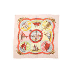 Light Pink & Multicolor Hermes Belles Amures Silk Scarf