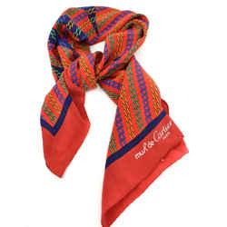 "Cartier ""must De"" Red, ""double C"" Logo 100% Silk, Scarf/foulard 32"" X 32"" (nm)"