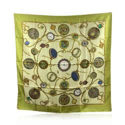 Gucci Vintage Green Silk Pocket Watch Clock Scarf