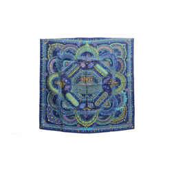 Authentic Hermes Silk Scarf Parures Des Maharajas Blue Baschet 90cm Carre