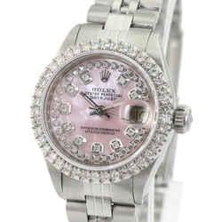 Rolex Pink Mop Lady Datejust Diamond Dial Diamond Bezel Watch
