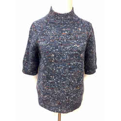 THEORY Slate-Blue/multicolor Marled Wool & Silk Sweater Top