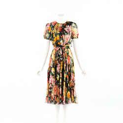 Dolce & Gabbana Dress Floral Print Silk Belted SZ 44