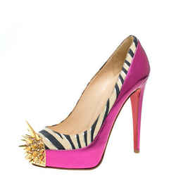 Christian Louboutin Pink Zebra Print Suede And Patent Leather Limited Edition