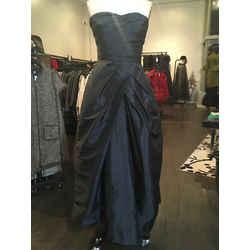 Monique Lhuillier Size 10 Black Strapless Silk Taffeta Gown Evening Dress