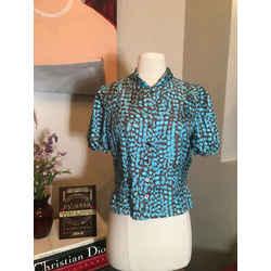 Louis Vuitton Size 40 Teal Blue Brown Silk Blouse 1607-110-91120