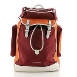 Double Pocket Drawstring Backpack Nylon with Leather Medium