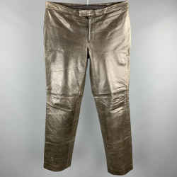 Costume National Size 34 Taupe Distressed Leather Biker Style Pants