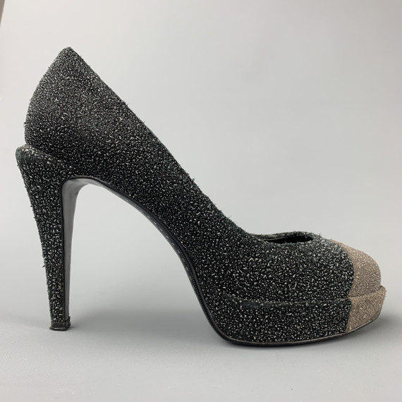 CHANEL Size 7 Charcoal & Grey Sparkle Textured Pumps