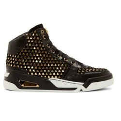 New Versace Black Suede Gold Weave High-top Sneakers W/gold Medusa 42 - 9