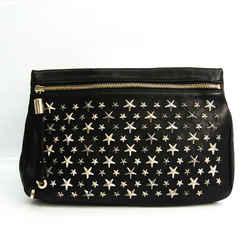 Jimmy Choo ZENA Women's Leather Clutch Bag Black BF534889