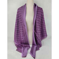 Gucci Violet Gg Wool Silk Large Square Scarf Shawl 281942 5372