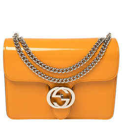 Gucci Orange Patent Leather Interlocking G Shoulder Bag