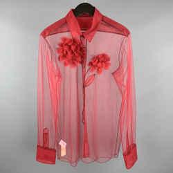Viktor & Rolf Size M Red Tulle Floral Applique Western Shirt